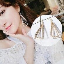 Eleple Korea Geometry Triangle Earrings Multilayer Fashion Long Ear rings for Women Manufacturers Wholesale C5034