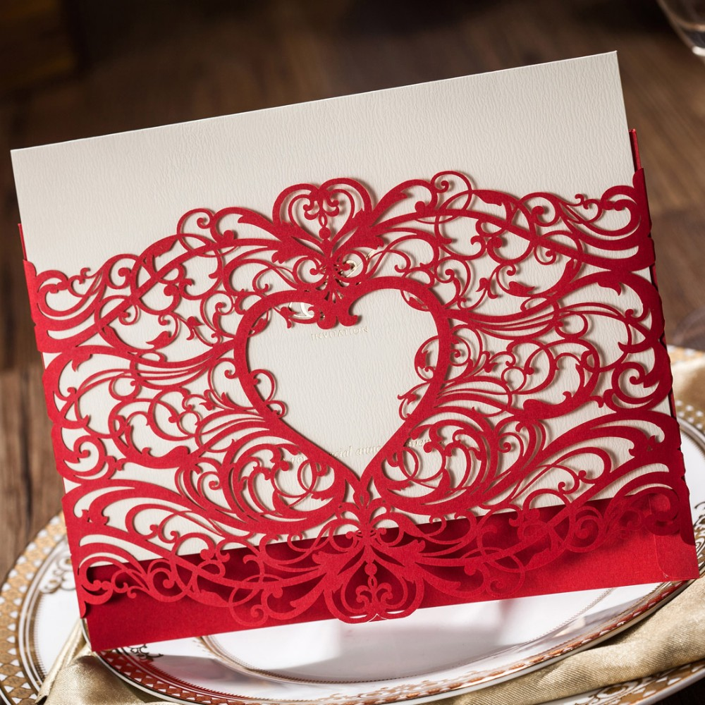 Laser Cut Wedding Invitations Card Gold Red Hollow Heart Birthday ...