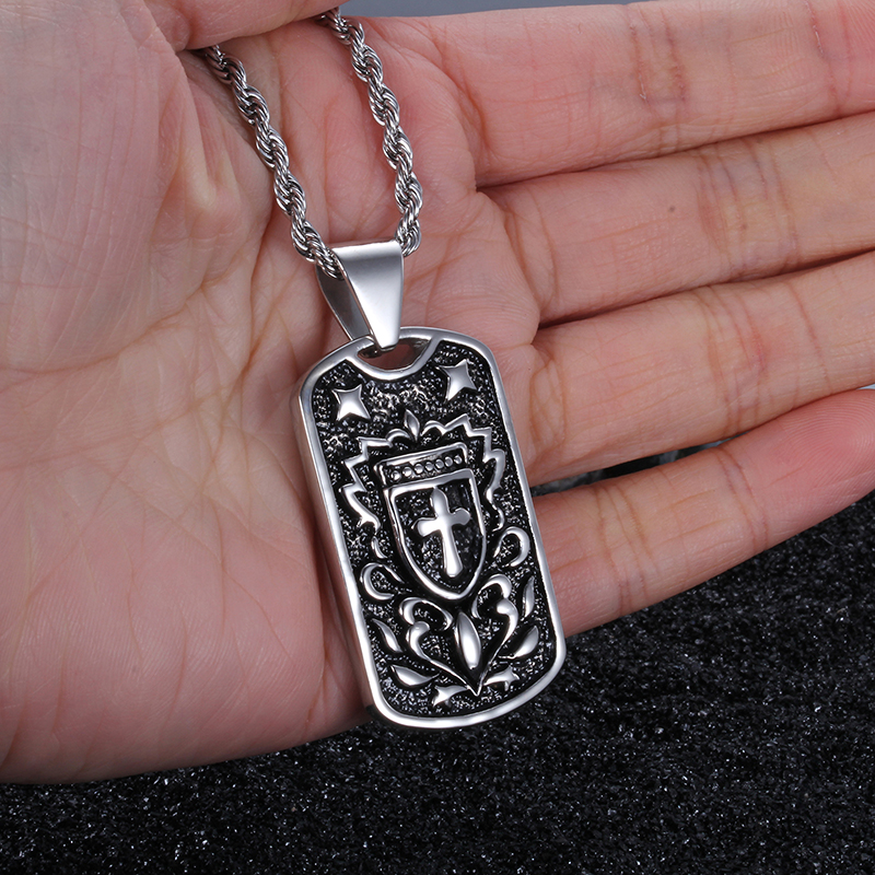 Online shop biker 316l stainless steel cross shield type dog tag online shop biker 316l stainless steel cross shield type dog tag pendant mens rope necklace gothic jewelry 22 4mm aliexpress mobile audiocablefo