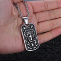 Biker 316L Stainless steel Cross shield type  Dog Tag Pendant Men's Rope Necklace Gothic  Jewelry 22'' 4mm