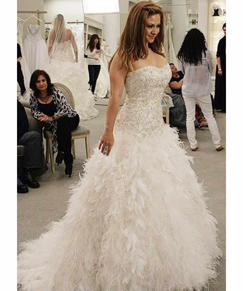 Vestido De Noiva Luxury Feather Wedding Dress Tulle Lace Beaded