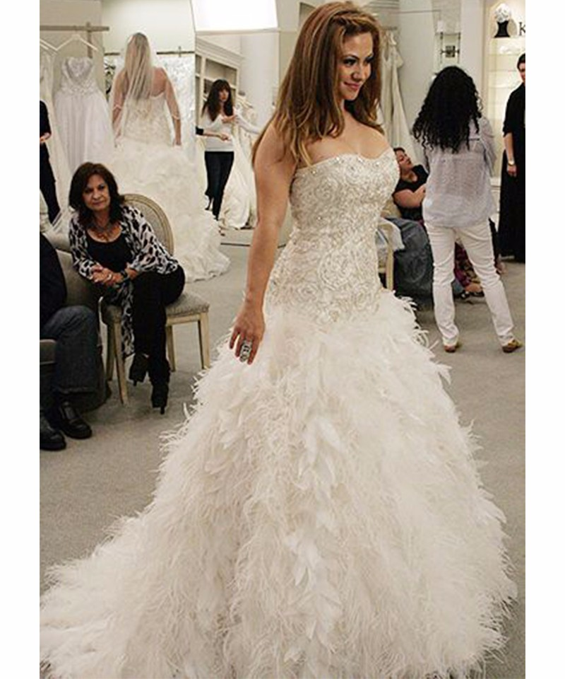 Wedding Gown With Feathers: Vestido De Noiva Luxury Feather Wedding Dress Tulle Lace