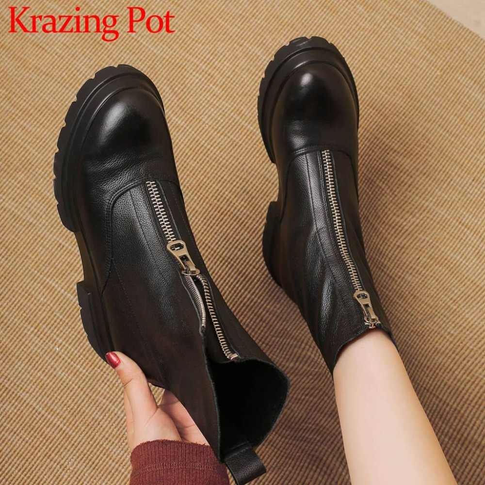High quality genuine leather hot sale round toe med bottom hot sale western boots plus size concise style mid-calf boots L5f1