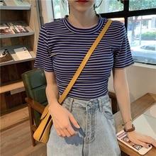 T Shirt Women Crop Top Bandage Striped Short Sleeve T-shirt Summer T-shirts Clothing Blusa