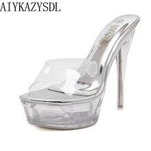 AIYKAZYSDL/женские ПВХ Ясный Прозрачный сандалии на шпильке и на платформе; обувь на ультравысоком каблуке; женские туфли-лодочки; Mule Slide; Свадебная обувь