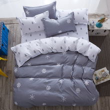 wholesale pattern snowflake and Stripe stlye  4pcs or 3pc Bedding sets Cotton bed sheet +duvet cover + pillow case bedclothes