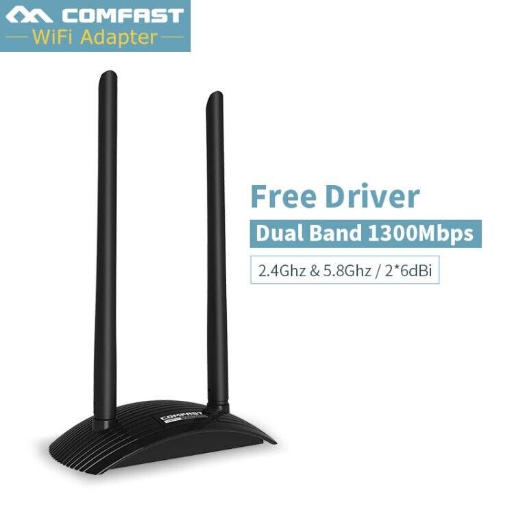 Comfast USB 3.0 réseau sans fil wifi carte avec double 2 * 6dbi antenne MT7612UN haute puissance wifi adaptateur signal fort haute vitesse