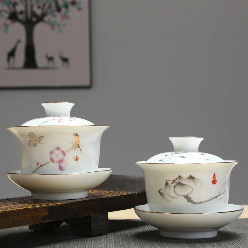 Tangpin grande capacidade cerâmica tureen gaiwan chá pintados à mão cha tigela chinês kung fu conjuntos de chá 200ml