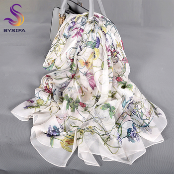 [BYSIFA] White 100% Silk Scarf Cape Fashion Floral Design Long Scarves Women Summer Utralong Beach Shawl Winter Scarves180*110cm floral embroidery bow tie scarves summer chiffon poncho cape women elegant ruffle long sleeve shawl female silk scarf sunscreen