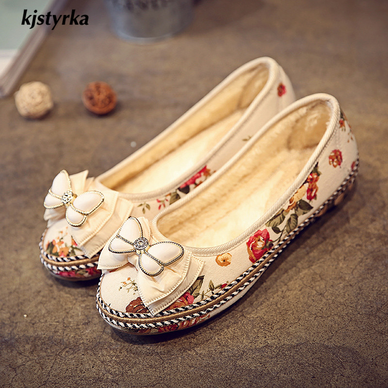Floral White Zapatos Papillon Brillant Confortable Mode Mujer Classique Automne Femmes Plush rice Appartements 2018 Kjstyrka Brodé noeud Chaussures Printemps UgwCqIId