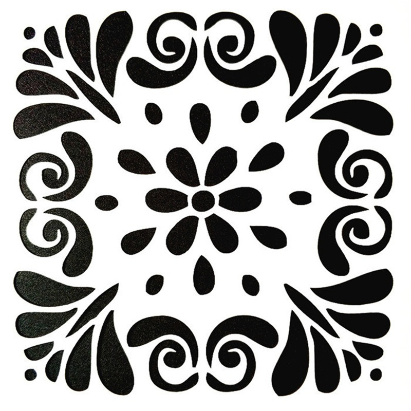 DIY Painting 15 15cm DIY Decor Vintage Floral Art Stencil Template For Tile Furniture Floor Painting Decor