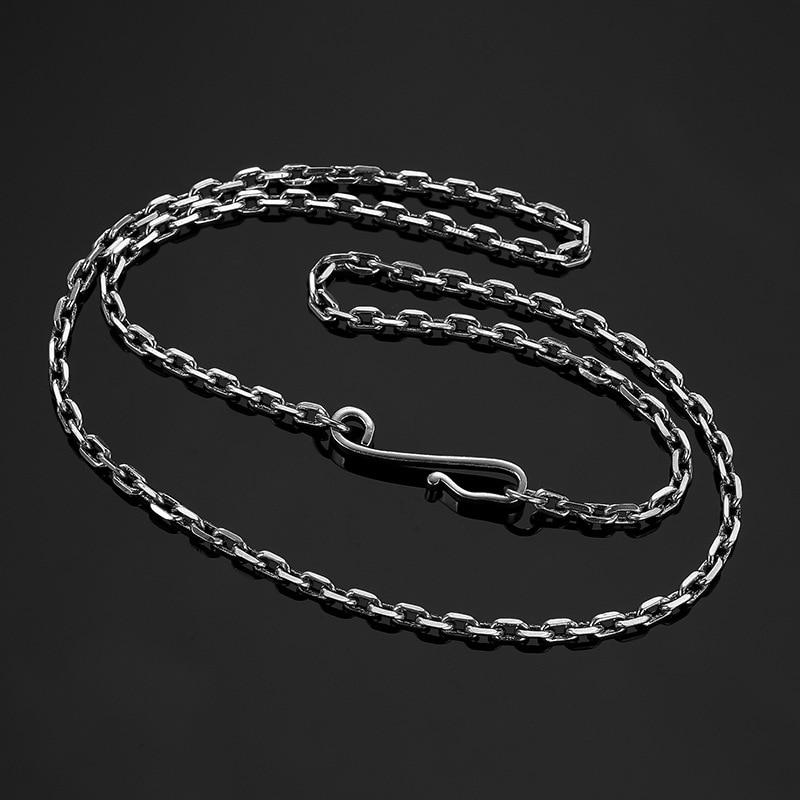Mode hommes et femmes collier chaîne 925 en argent Sterling ton noir Punk gros bijoux 20-32 pouces longueur