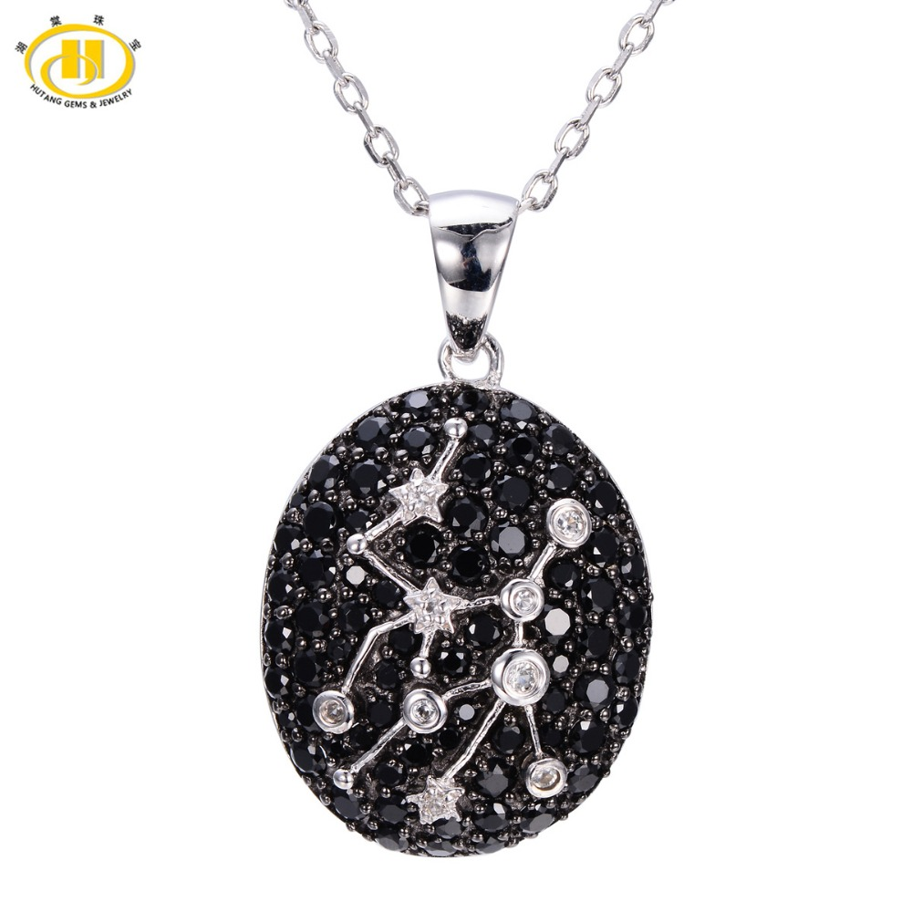 Hutang Fashion 2.61ct Black Spinel & White Topaz Pendant Solid 925 Sterling Silver Necklace Virgo Constellation Birthday Gift fashion cool punk style pendant necklace brown virgo theme
