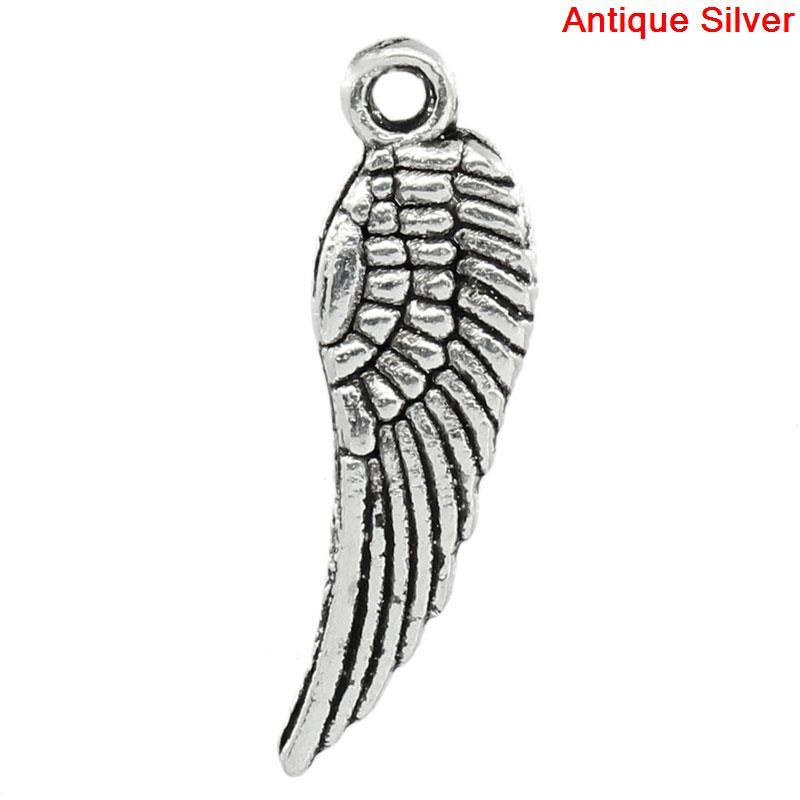 Doreen Box Schöne 50 Stücke Tibetischen Silber Tercel Flügel Charms Pendants5 * 17mm (b00275)
