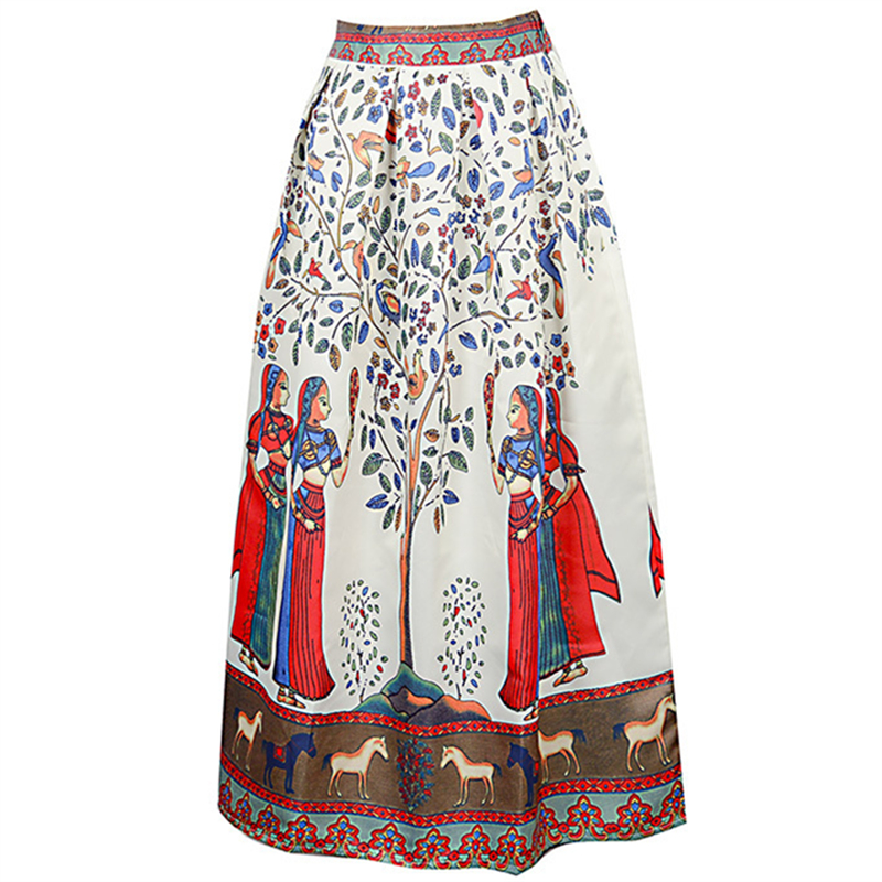 d6ae8741b7 Neophil 2019 Boho Long Ethnic Indian Floral Printed Maxi Women Skirts Black  White Pleated Satin Floor Length Jupe Longue MS08002-in Skirts from Women's  ...