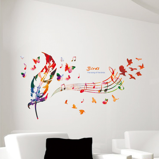 Colorful feather music note butterfly wall mural poster the song of the birds wall stickers quote
