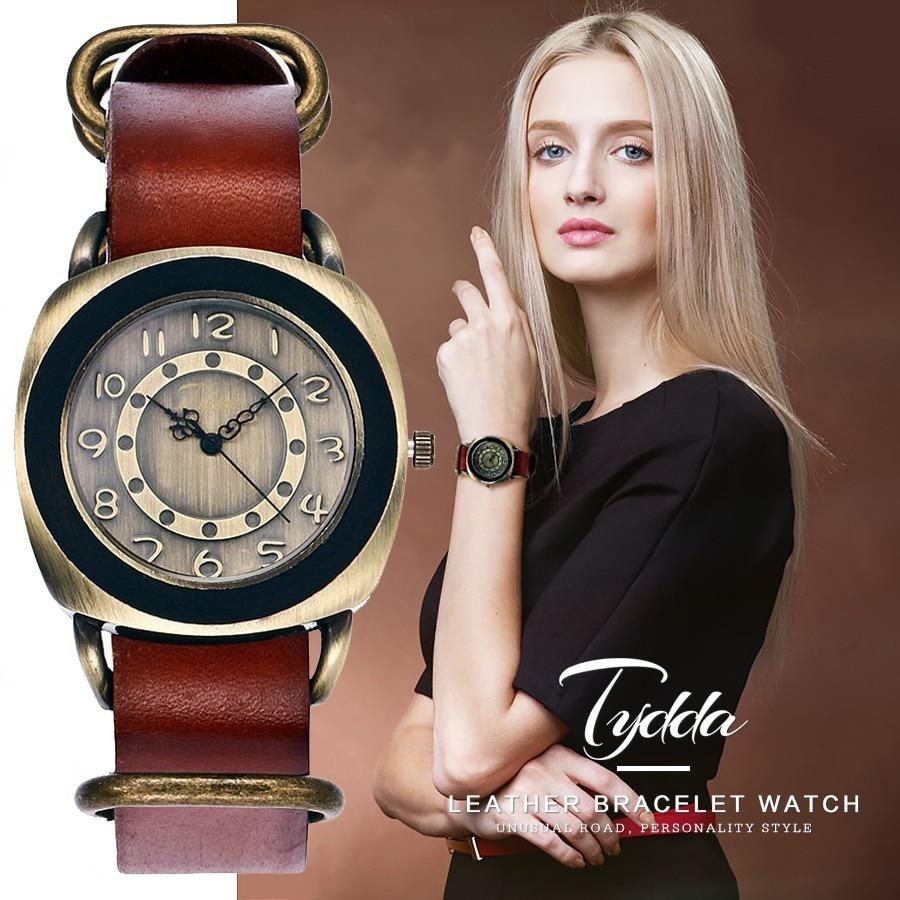 Tydda Marca Mujeres Moda Pulsera de Cuero Genuino Creativo Relojes - Relojes para mujeres