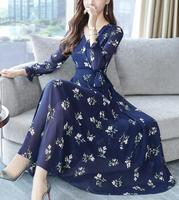 High quality 2018 New Arrival Plus Size S XXXL Elegant V Collar Long Sleeve Flower Printed Woman Long Chiffon Dress