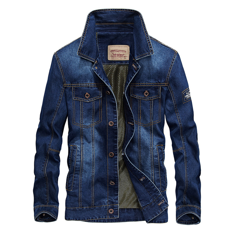 New style 2018 men's casual coat blue Denim Trench high quality Plus Size men's clothing M-4XL