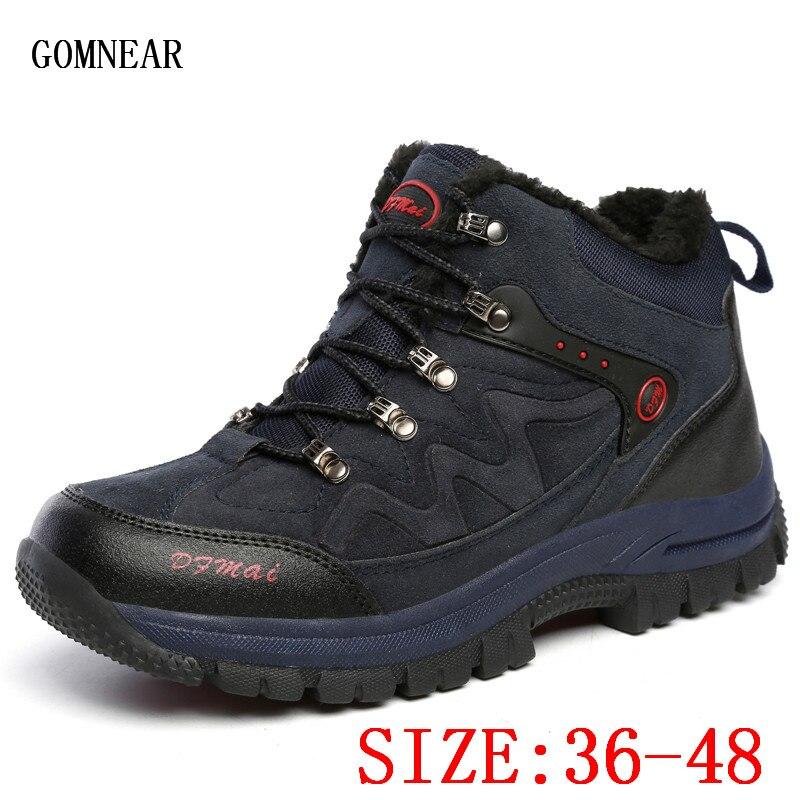 GOMNEAR/зимняя мужская и женская теплая обувь для походов на открытом воздухе, обувь для альпинизма, трендовые Трекинговые ботинки для горных п...