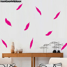 12P=1LOT Pure 3D Feather Wall Stickers Waterproof Removable For Living Room Bedroom Home Decor removable waterproof elephants pattern 3d wall stickers for living room bedroom decoration