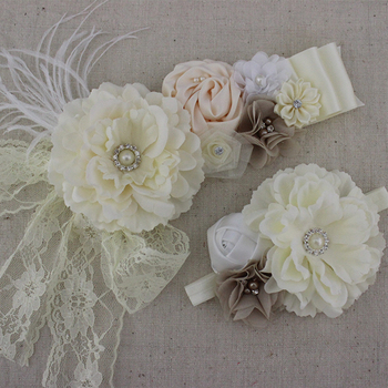 1set ivory white fabric peony flower sash baby girl flower sash matching headband baby Apparel Accessories belt