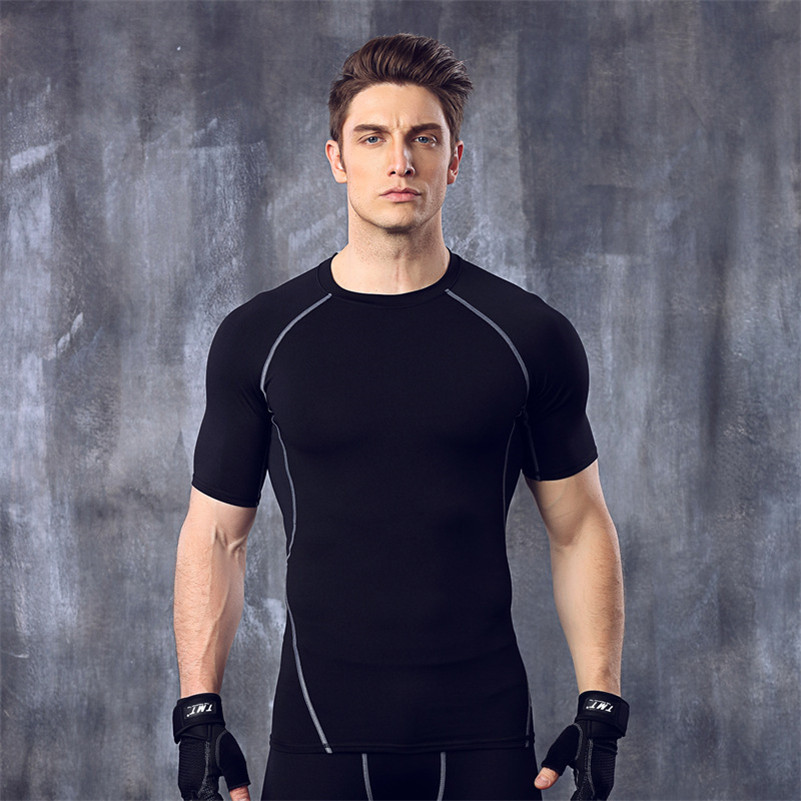 Summer active compression tee shirt for mens clothes short for Compression tee shirts for men