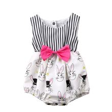 Newborn Kids Baby Girls Bowknot Romper Jumpsuit Outfit Princess Toddler Summer Clothes 0-24M Sunsuit Outfits cute floral baby romper newborn infant baby girls summer v neck ruffles jumpsuit toddler kids outfits princess sunsuit