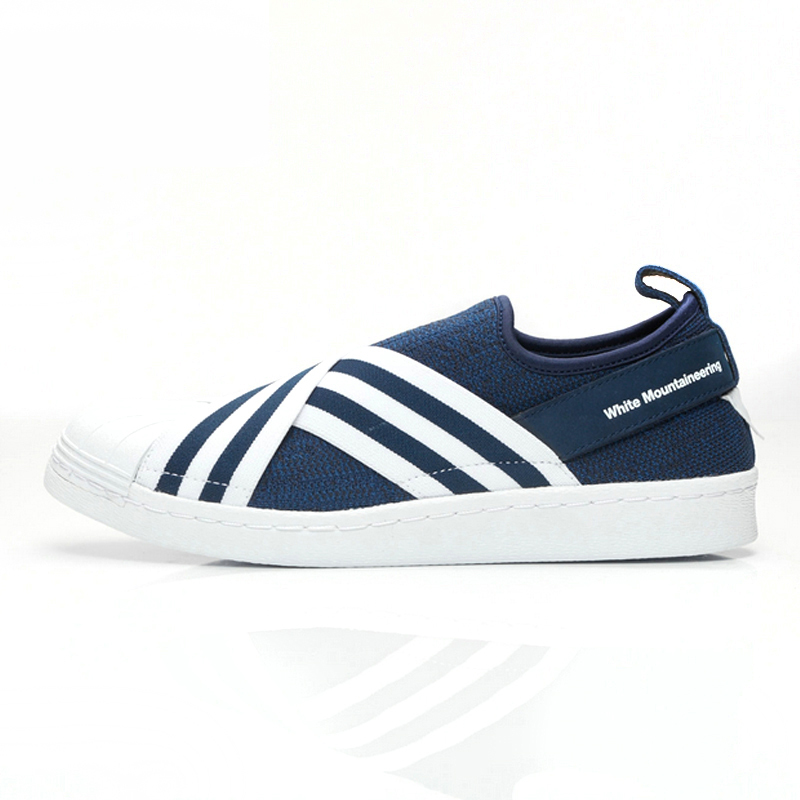 Adidas White Mountaineering Superstar Slip on Men Skateboarding Shoes Blue Sport Sneakers Breathable Sneakers BY2879 studded decorated slip on sneakers