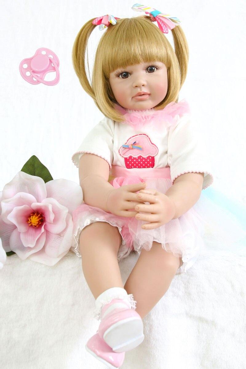 60 cm Silicone Reborn Baby Doll Toy Realistica 24 pollici In Vinile Del Bambino Della Principessa Delle Ragazze Bambini Bambola Regalo di Modo Bebe Vivo bambini Boneca