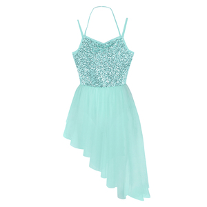 Image 4 - Women Adult Ballet Dress Spaghetti Straps Sleeveless Halter Neck Sequins Irregular Tulle Ballet Dance Gymnastics Leotard Dress
