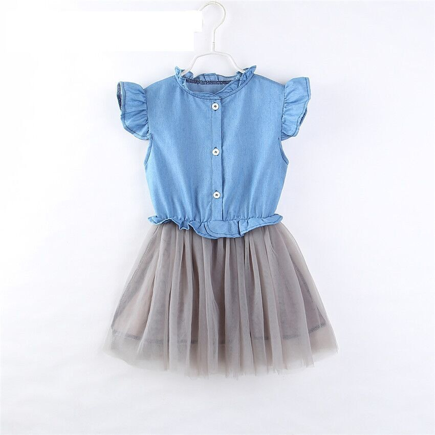 2-7T Ruffle Sleeve Denim shirt Dresses for Girls Splicing mesh Pleated Dresss 2018 Summer Girls Clothes Casual Girls Dress
