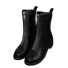 Spring Women Front Zipper Ankle Boots Women Casual Martin Boots Fashion Woman Warm Girl Shoes Platform Feminino Knee High Boots