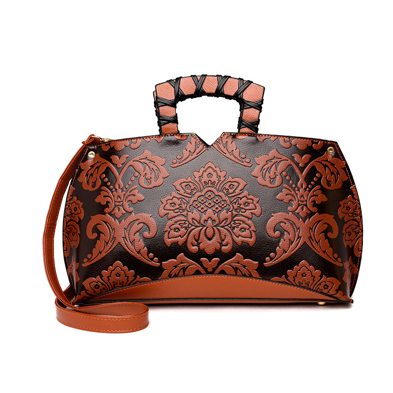 Leather Women Handbags Tote Bolsa Feminina National PU Leather Shoulder Crossbody Bags Flowers Messenger Bags sac a main national chinese style bags embroidery flowers handbags ethnic canvas handmade tote women s handbags sac a dos femme