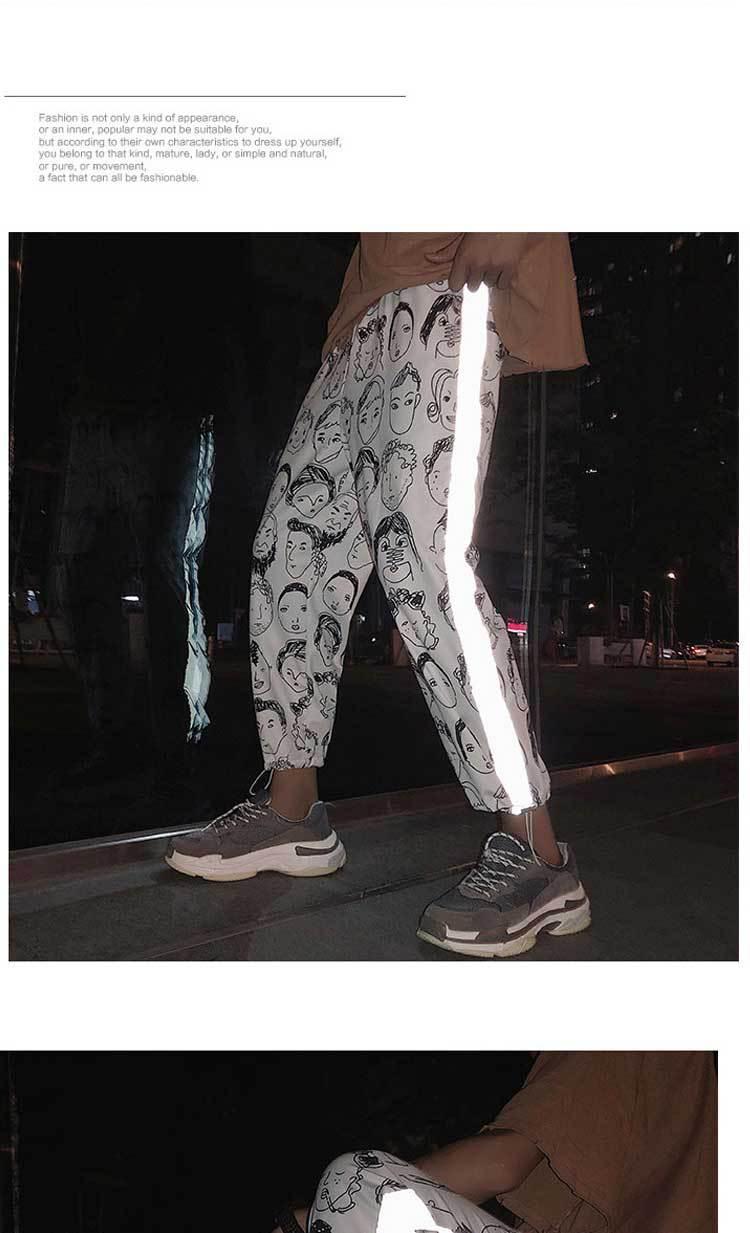 HOUZHOU Reflective Harem Gothic Pants Women Hip Hop Streetwear Ankle Length Trousers Plus Size Mid Loose Pencil Pantalon Female 6