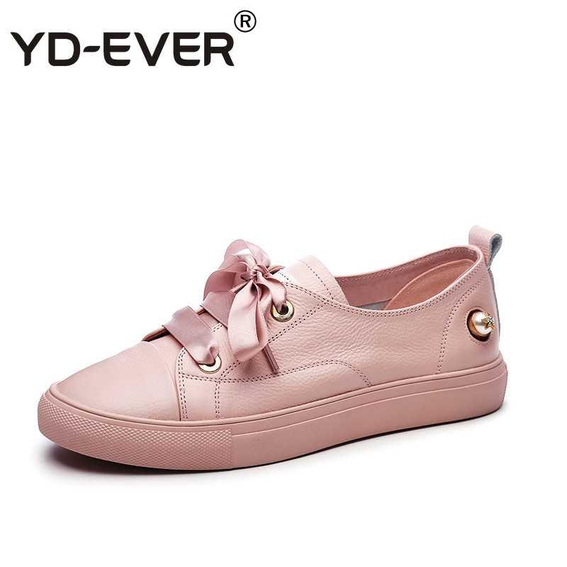 8a5f766ad ... YD-EVER натуральная кожа Для женщин кроссовки модные шелковые босоножки  Повседневная обувь дырочку весна- ...
