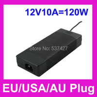 Adaptador de LED de 1.2 metro longo com a ue / eua / AU Plug AC86 ~ 264 V de entrada, 12 V 10A 120 W saída AC / DC adaptador com 5.5 mm DC Plug