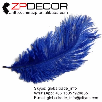 ZPDECOR 100pcs/lot 30-35cm(12-14inch)Hand Fluffy and Smooth Bleached Royal Blue Ostrich Feathers for Wedding Decoration Feathers