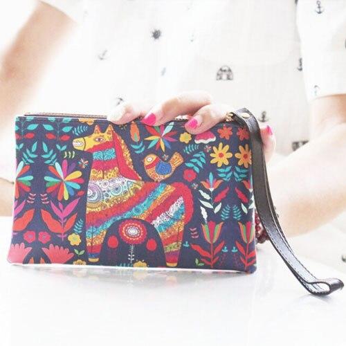 купить Summer Style Women Wallet Flower Print Wallet Carteira Feminina Long Clutch Graffiti Mobile Phone Bag недорого