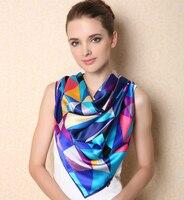 Women S Gem 100 Silk Scarf Big Size Square Scaves Plaid Fashion Skin Friendly Silky Glossy