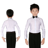 Child Ballroom Dance Tops Boy S Turtleneck Sequin Latin Dance Shirt Leotard Boy Drill Dance Wear