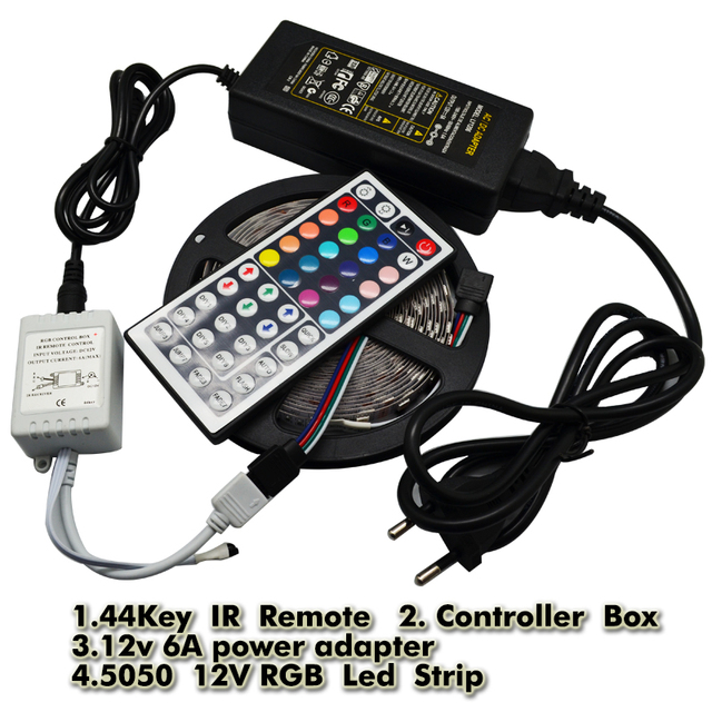 RGB 5050 DC 12V LED Strip Light 5M 300 LED Flexible Non-waterproof Diode Tape + 44key IR Remote Controller + 6A Power Adapter