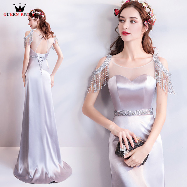 b22039c2815 Mermaid Silver Satin Crystal Beaded Long Sexy Evening Dresses 2018 New  Fashion Party Dress Evening Gowns