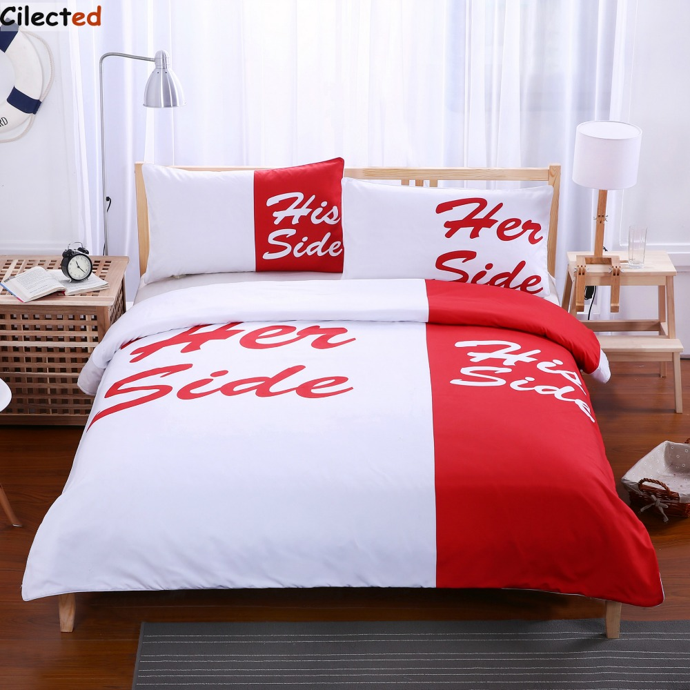 White and red bed sheets - Cilected Red White Bedding Set His Side Her Side Home Textiles Soft Duvet Cover And