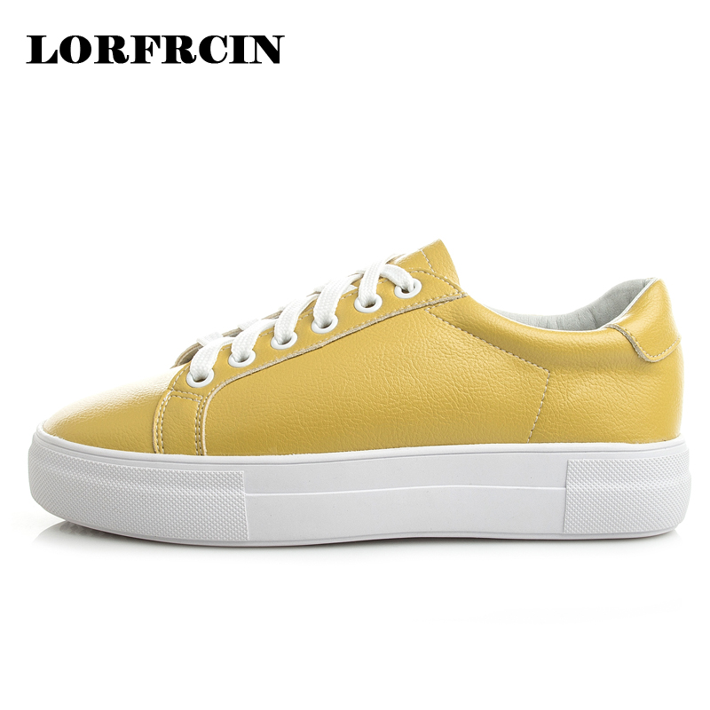 LORFRCIN Autumn Casual Shoes Woman Genuine Leather Flat Platform Shoes Women Creepers Yellow Thick Bottom High Quality Flats bling patent leather oxfords 2017 wedges gold silver platform shoes woman casual creepers pink high heels high quality hds59