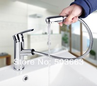 Hot Wholesale And Retail Chrome Solid Brass Water Power Kitchen Faucet Swivel Spout Pull Out Vessel