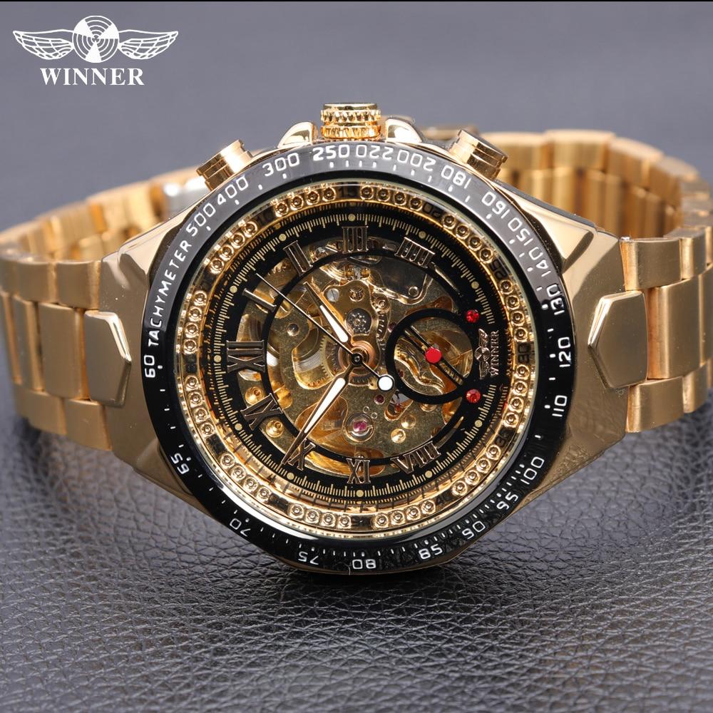 Number Sport Design Bezel Golden Watch   Montre Homme Clock Men Automatic Skeleton Watch