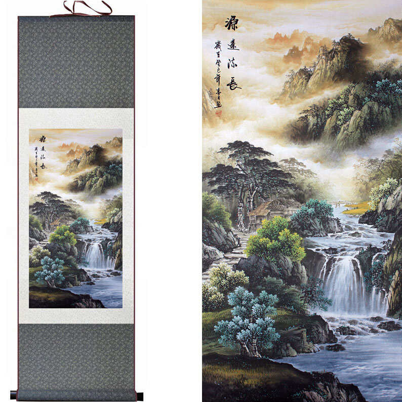 Mountain and River painting Chinese scroll painting landscape art painting shan shui painting ...