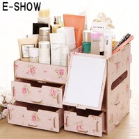 Five Kinds DIY Wooden Storage Box Desk Makeup Cosmetic Box Drawers Jewelry Storage Case Organizer With