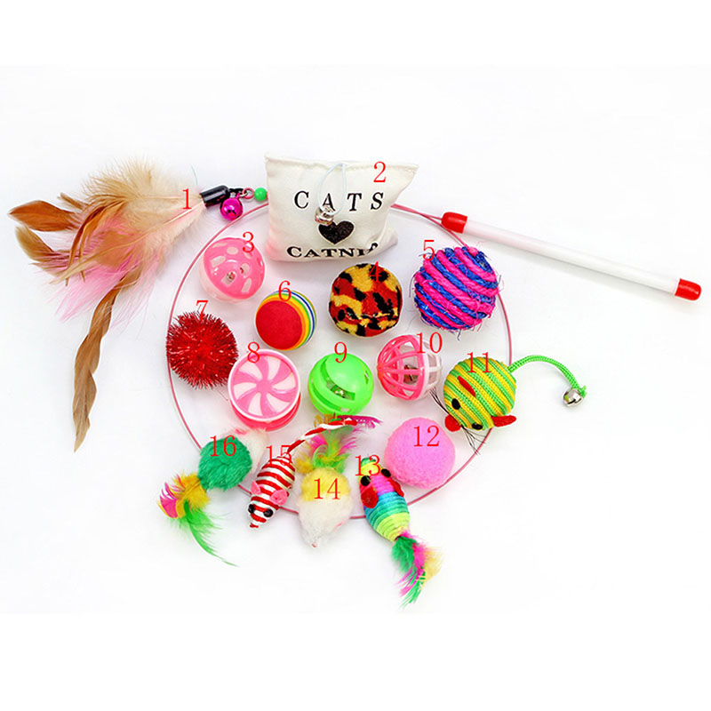 16 Pcs Pet Cat Toy Set Feather Teaser Wand Catnip Toys Ball Rings Cats Interactive Products